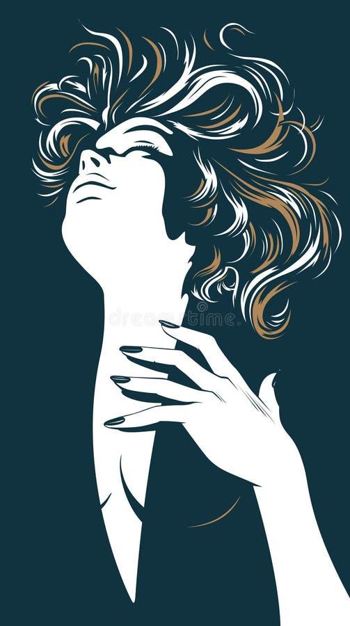 Mooi de vrouwensilhouet van de aantrekkingskracht stock illustratie