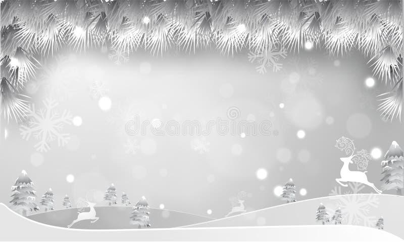 Mooi de winterlandschap met sneeuw behandelde Kerstmisbomen en teugel vector illustratie