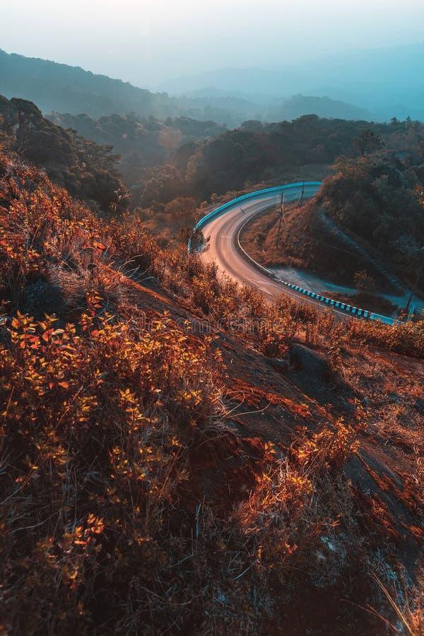 Mooi de zomerlandschap in de bergen met de zonsondergang stock afbeeldingen