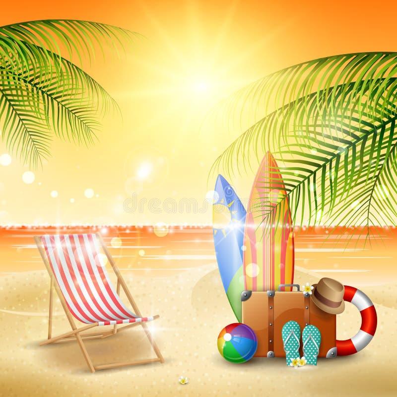 Mooi de zomerstrand vector illustratie