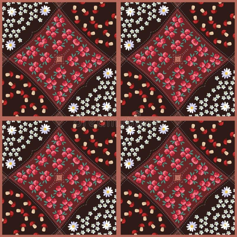 Mooi dekbed met heldere bloemenpatronen Vector illustratie stock illustratie