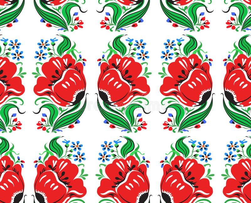 Mooi denkbeeldig rood bloemen naadloos patroon royalty-vrije illustratie
