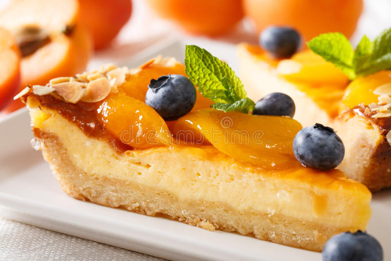 Mooi dessert: kaastaart met abrikozen, bosbessen en alm stock foto
