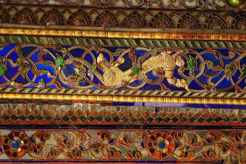 Mooi detail van Wat Phra Kaew Don Tao, Lampang, Thailand royalty-vrije stock foto's