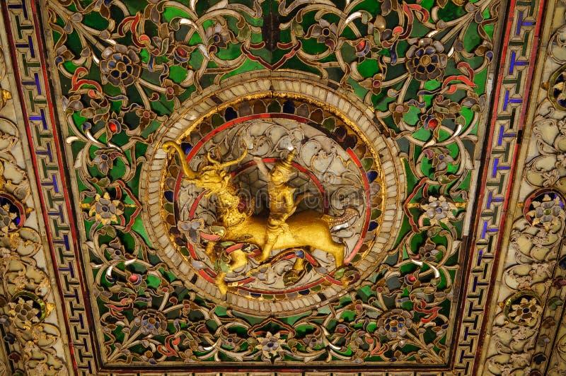Mooi detail van Wat Phra Kaew Don Tao, Lampang, Thailand stock afbeelding