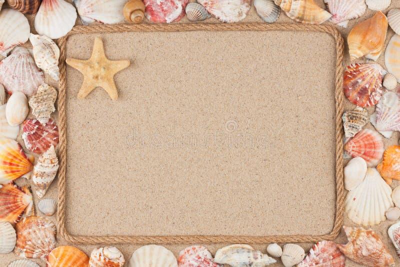 Mooi die kader van kabel en ster, overzeese shells op het zand, met plaats voor uw beeld wordt gemaakt, tekst stock foto