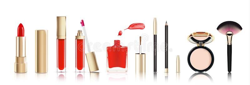 Mooi die schoonheidsmiddel in goud wordt geplaatst lippenstift, lipgloss, nagellak met vlek, kosmetische eyeliner pelcil en gezic royalty-vrije illustratie