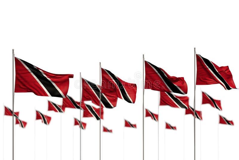 Mooi die Trinidad en Tobago isoleerden vlaggen in rij met bokeh worden geplaatst en plaatsen voor tekst - om het even welke 3d il royalty-vrije illustratie