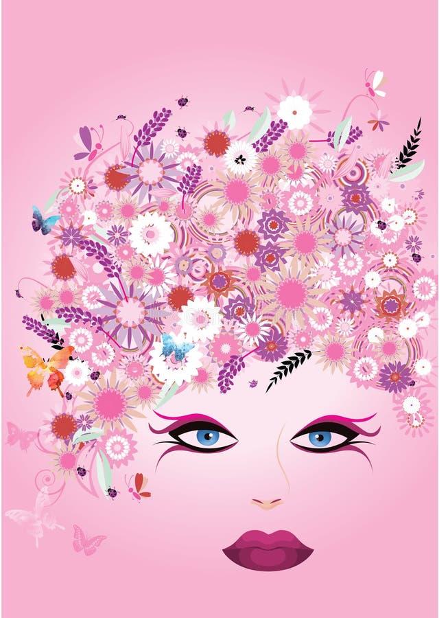 Mooi die vrouwengezicht met haar van bloemen en vlinder wordt gemaakt stock illustratie