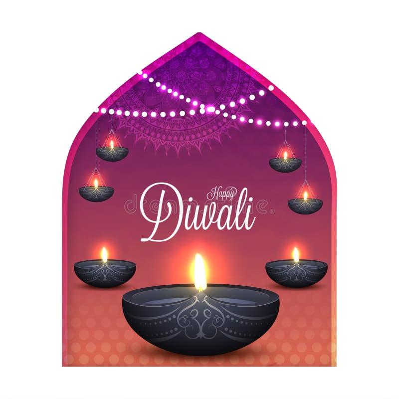 Mooi Diwali-de kaartontwerp van de vieringsgroet met illuminat vector illustratie