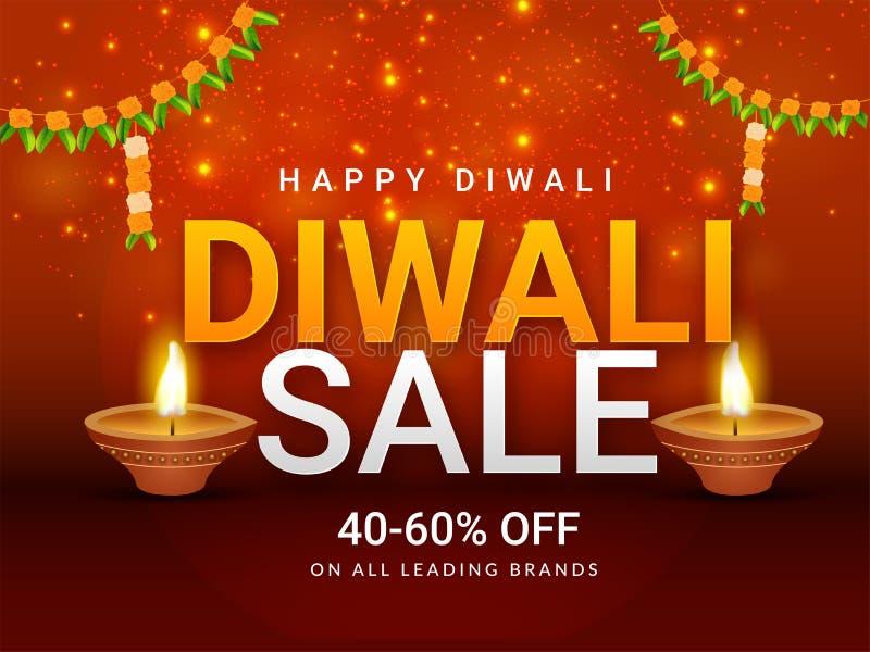 Mooi Diwali-van de Verkoopaffiche of banner ontwerp met discou 40-60% vector illustratie