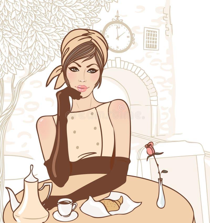 Mooi donkerbruin meisje in de straatkoffie stock illustratie