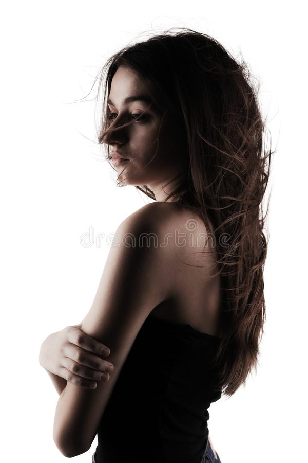 Mooi donkerbruin meisje met winderig haar stock foto