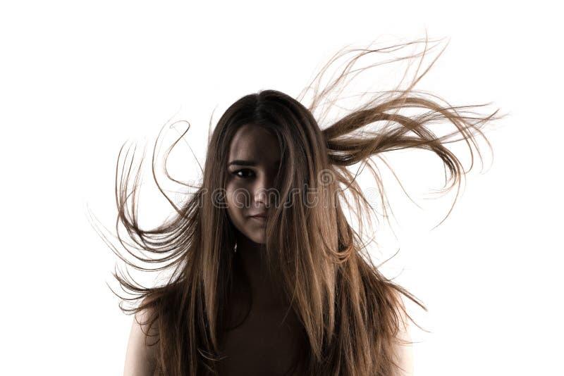 Mooi donkerbruin meisje met winderig haar stock afbeelding