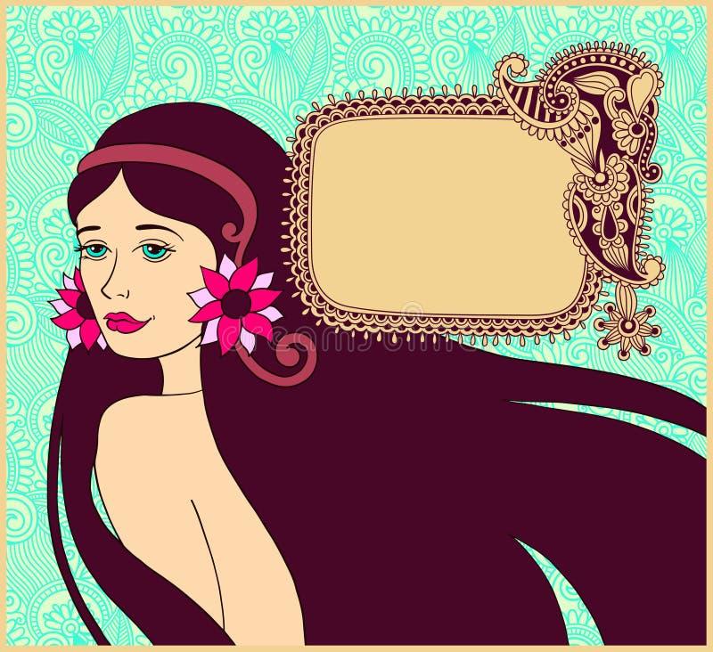 Mooi donkerbruin meisje op bloemenachtergrond met royalty-vrije illustratie