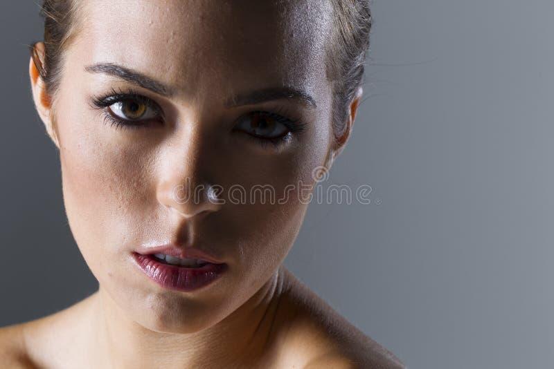 Mooi Donkerbruin Modelposes in een Studiomilieu royalty-vrije stock foto