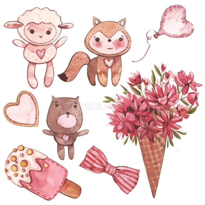 Mooi draagt weinig lam, vos en Roze Waterverfreeks elementen voor de dag van Valentine ` s De elementen van het plakboekontwerp royalty-vrije illustratie