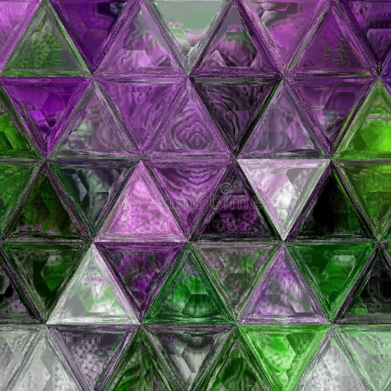 Mooi driehoeks purper, groen en wit achtergrondeffect gebrandschilderd glas stock fotografie