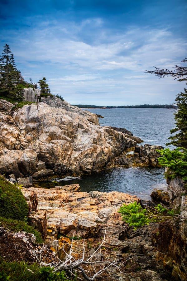 Mooi Duck Harbor Isle-Au Haut in het Nationale Park van Acadia, Maine stock afbeeldingen