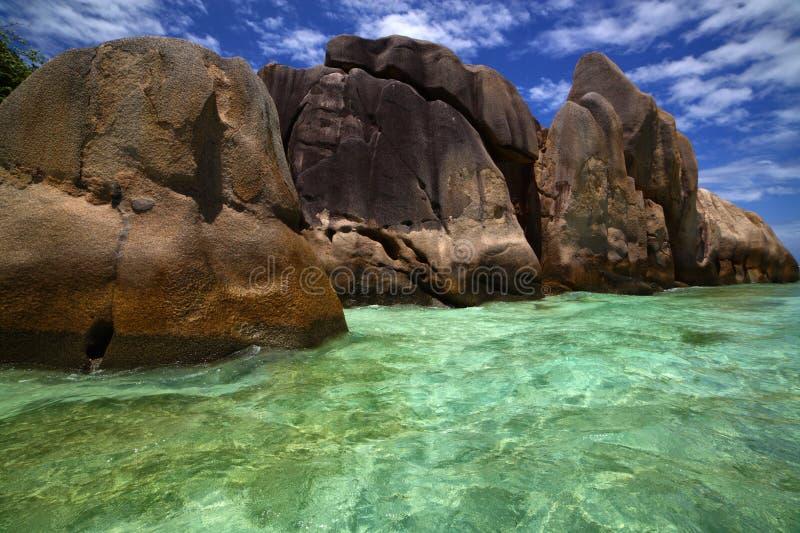 Mooi duidelijk blauwgroen water onder kustrotsen stock fotografie