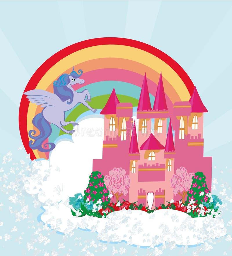 Mooi eenhoorn en sprookjeprinseskasteel vector illustratie