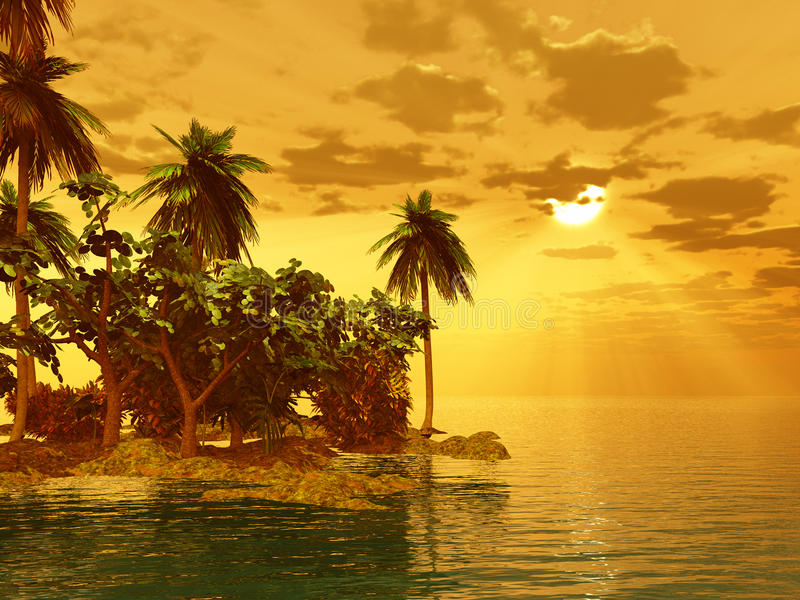 Mooi eiland in de zonsondergang