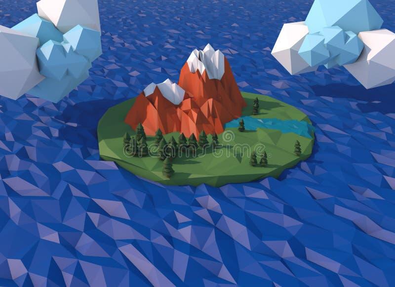 Mooi eiland met wolken Lage poly 3D geeft terug stock illustratie