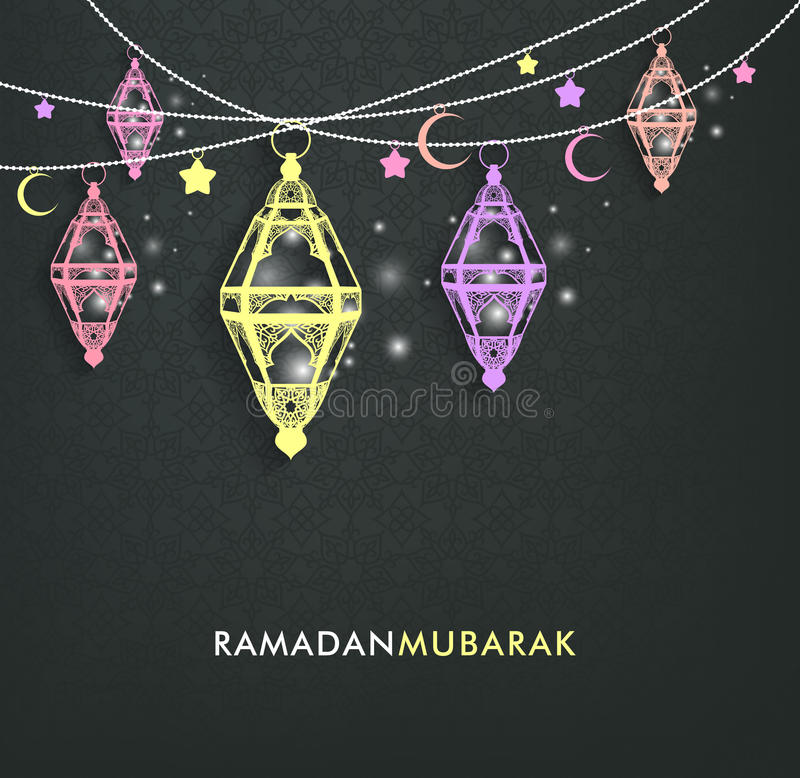 Mooi Elegant Ramadan Mubarak Lanterns stock illustratie