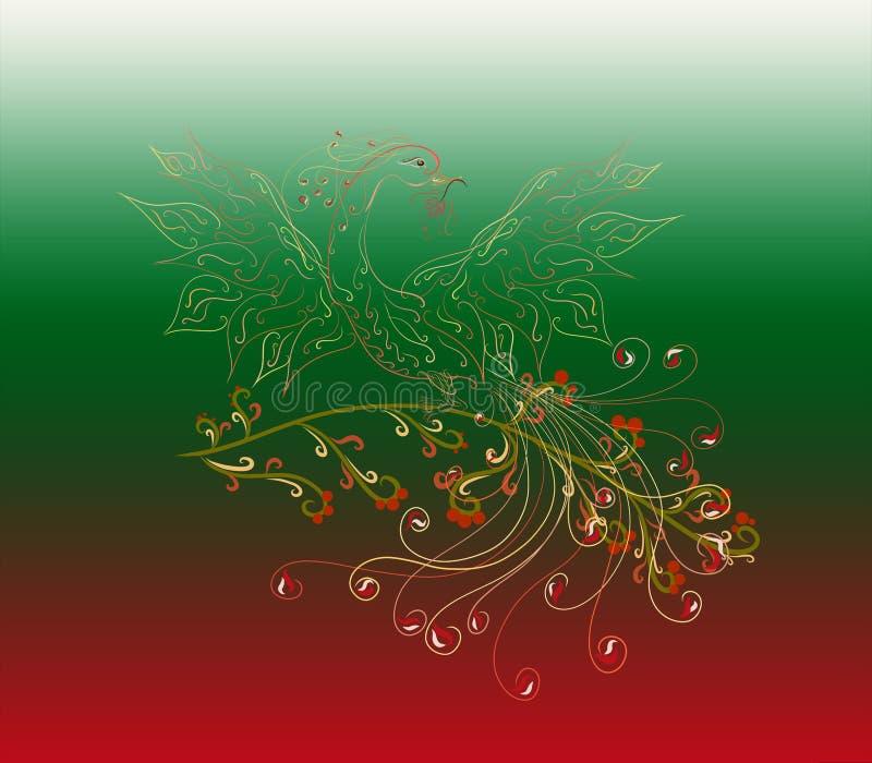 Mooi en helder Sunbird, Phoenix, met een bloem in zijn bek stock illustratie