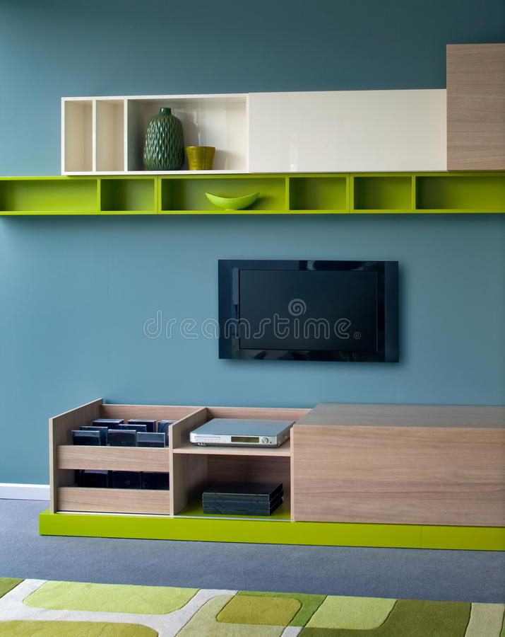Mooi en modern woonkamer binnenlands ontwerp. royalty-vrije stock afbeelding