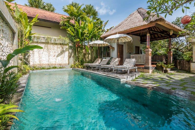 Mooi en tropisch zwembad stock foto