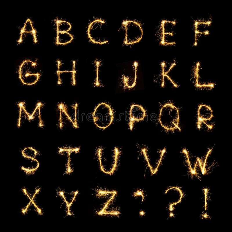 Mooi Engels alfabet van het Branden van sterretjebrieven vector illustratie