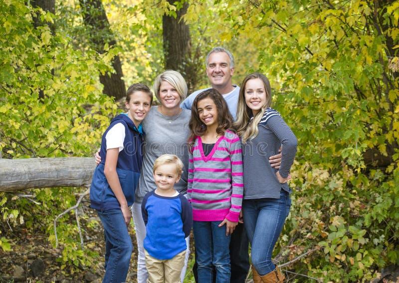 Mooi familieportret in openlucht op een zonnige dag stock foto's