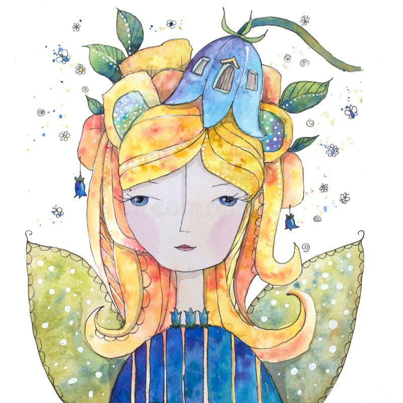 Mooi feeklokje met bloemen en lang haar vector illustratie