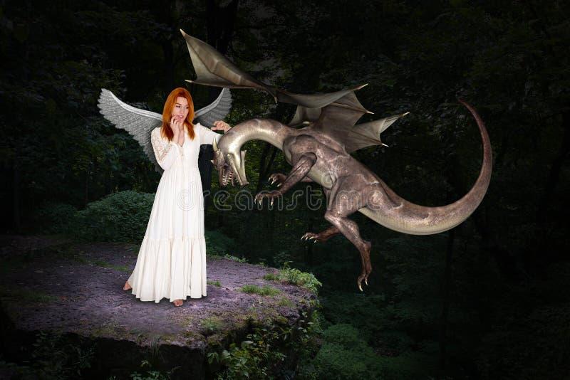 Mooi Forest Woman en Vliegende Draak stock afbeeldingen