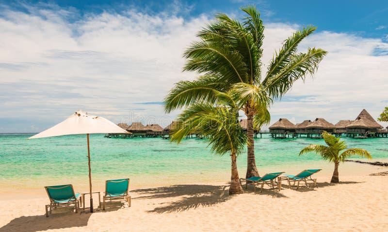 Mooi Frans Polynesisch strand met stoelen en paraplu Ontspanning en vakantieconcept stock afbeeldingen