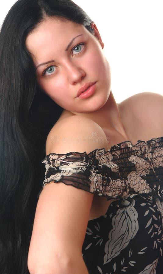Mooi geïsoleerd vrouwenportret stock fotografie