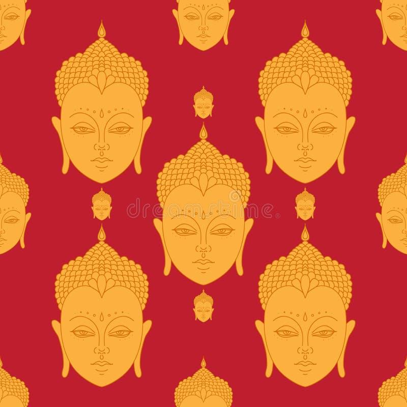 Mooi gedetailleerd Hoofd van Boedha Uitstekende decoratieve elementen Indisch, Hindoes motieven naadloos patroon vector illustratie