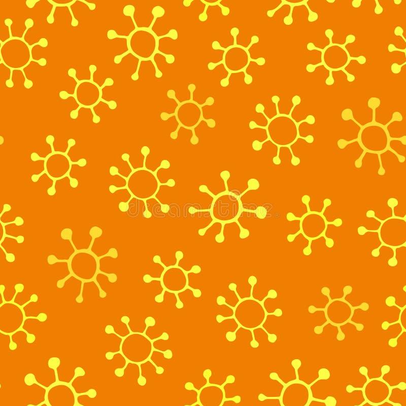 Mooi geel bloemen naadloos patroon met hand getrokken bloemen, stock illustratie