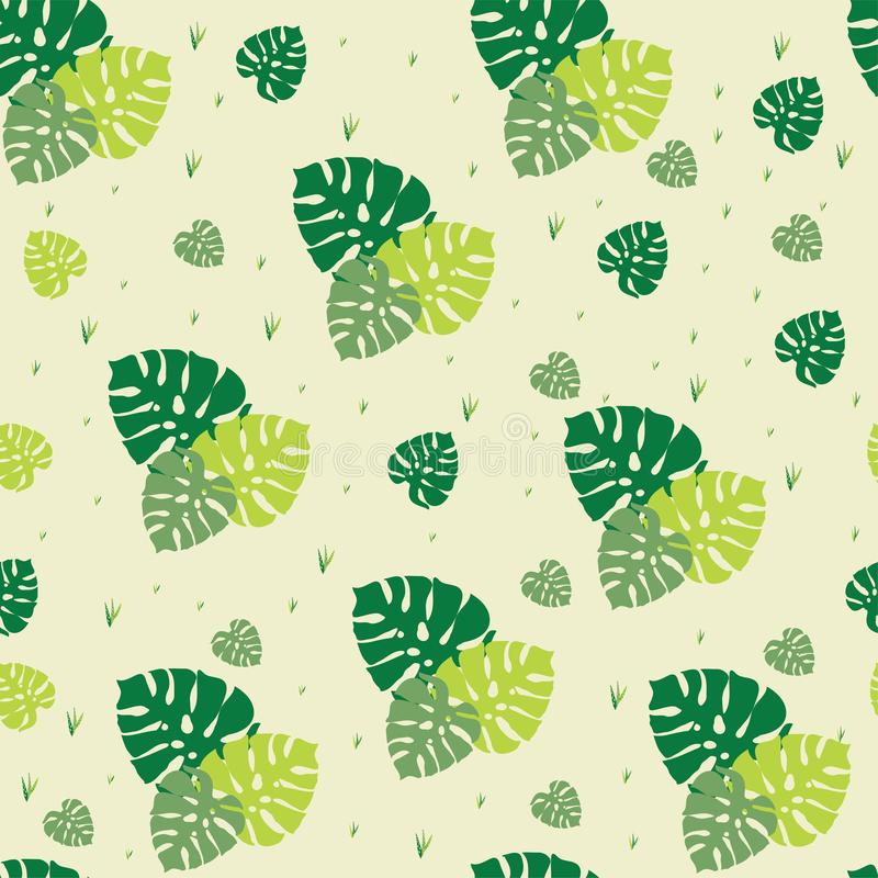 Mooi geel naadloos patroon van groene palmbladen die elementen herhalen stock illustratie