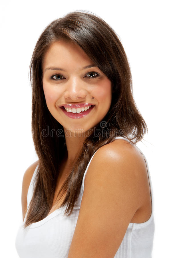 Mooi gelukkig jong vrouwelijk portret royalty-vrije stock afbeelding