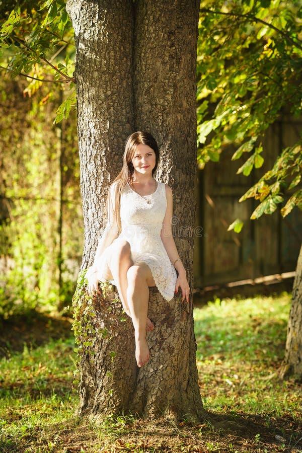 Mooi gelukkig meisje in witte kledingszitting op een boom royalty-vrije stock afbeelding