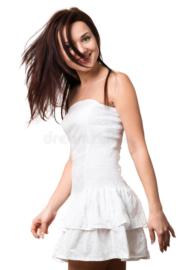 Mooi gelukkig meisje in witte sundress stock afbeeldingen