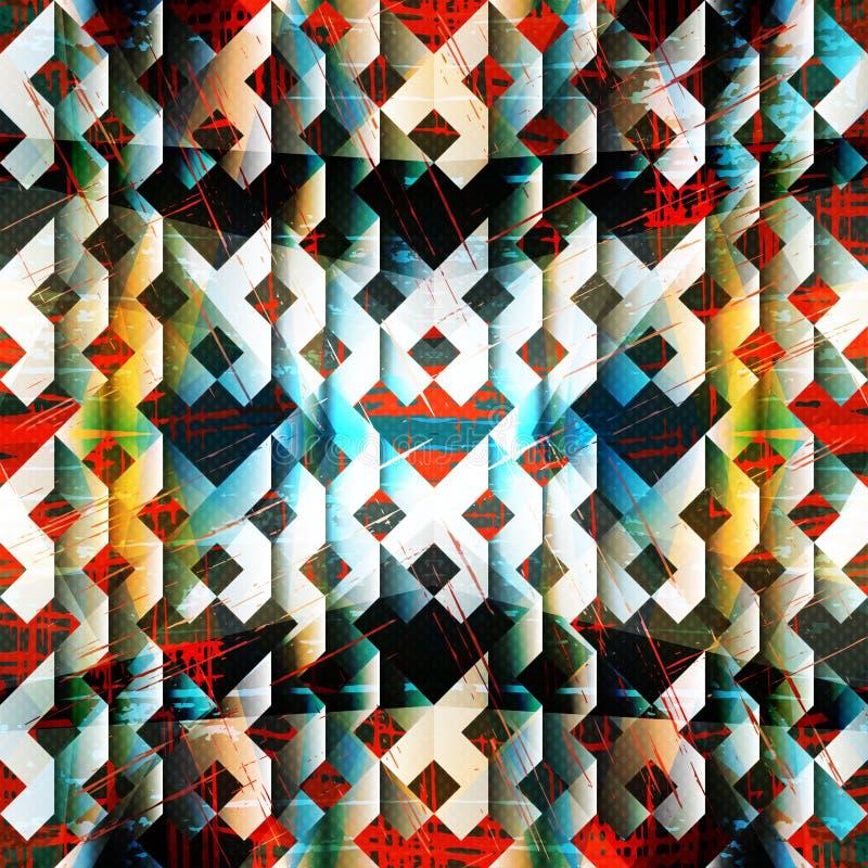 Mooi geometrisch patroon op een kleurrijke grunge textuur als achtergrond stock illustratie