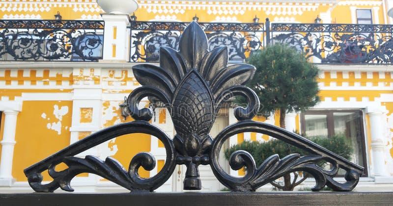 Mooi gesmeed patroon in zwarte in het park Riviera stock foto