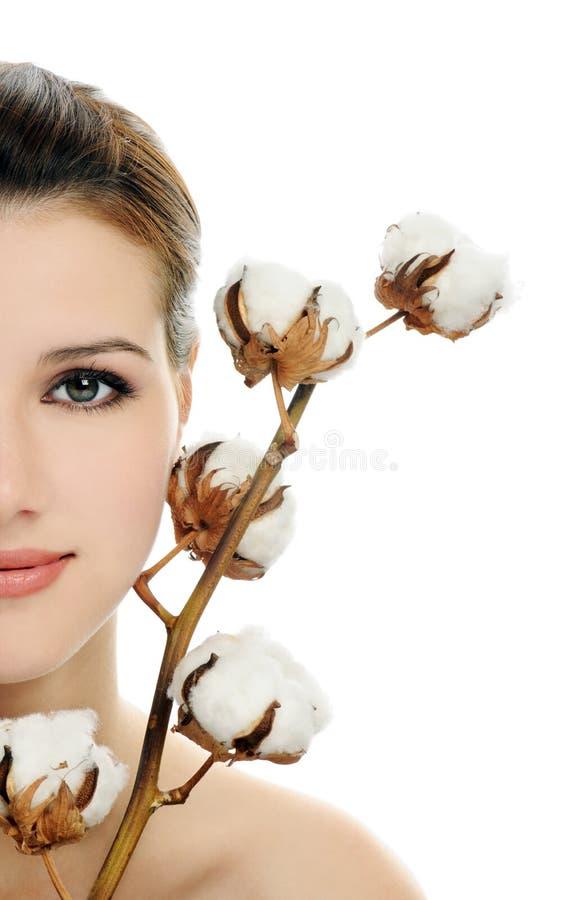 Mooi gezicht met katoen stock afbeelding