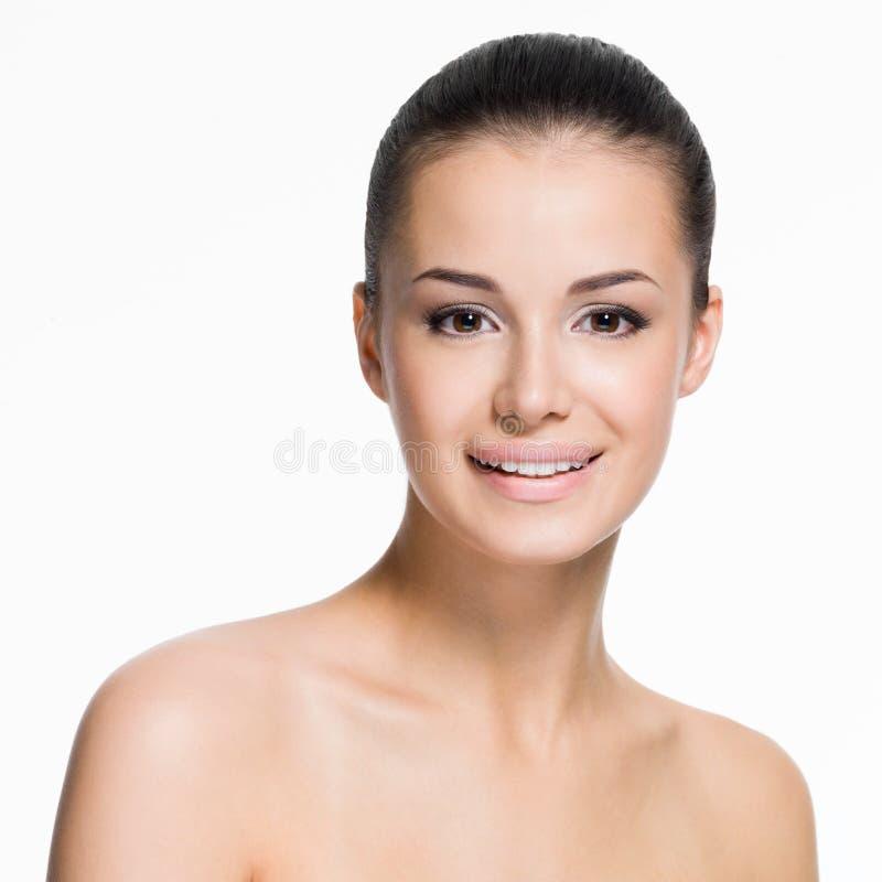 Mooi gezicht van glimlachende vrouw royalty-vrije stock foto