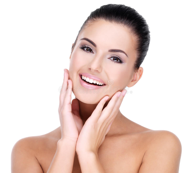 Mooi gezicht van glimlachende vrouw stock afbeelding