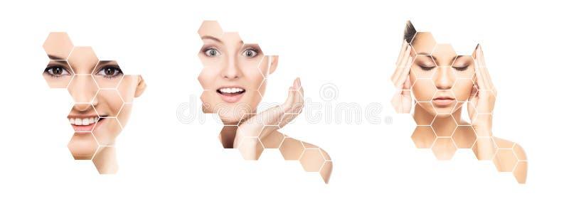 Mooi gezicht van jong en gezond meisje in collage Plastische chirurgie, huidzorg, schoonheidsmiddelen en gezicht het opheffen con royalty-vrije stock foto's