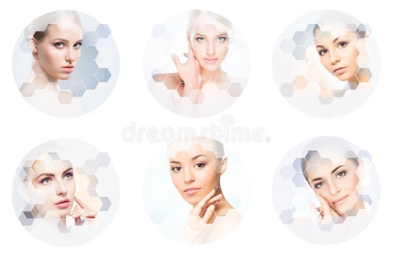 Mooi gezicht van jong en gezond meisje in collage Plastische chirurgie, huidzorg, schoonheidsmiddelen en gezicht het opheffen con royalty-vrije stock foto